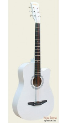 Фото AISHENG G38WH (Белая акустическая гитара с разноцветными струнами)
