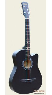 Фото AISHENG G38BK (Черная акустическая гитара с разноцветными струнами)